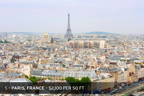 Paris, France and Berlin, Germany were the only European cities that saw prime real estate prices in their areas remain truly stable in the final quarter of 2008, with no percentage moves. Last year also saw growth for Paris in the calendar year, with prime prices rising in the city +3.8 percent in 2008. With luxury real estate prices very close to Hong Kong and Tokyo's markets, Paris' stability has allowed it to rise to the #5 spot, at $2,100 per square foot.