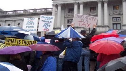Demonstrators in Harrisburg, PA rallying against out of control government spending.