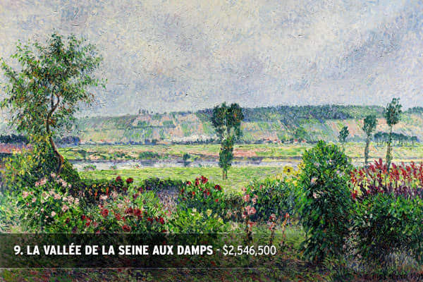 Winning Bid: $2,546,500Estimate: $1,000,000 - $1,500,000Value Sold: 169% of top estimateArtist: Camille Pissarro (1831 - 1903)Painted in 1892Signed C. Pissarro and dated 1892 (lower right)Oil on canvasMeasurements25 5/8 by 36 5/8 in