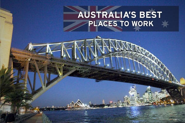 Looking for work in Australia? Well look no further -- here are the Top 10 great places to work down under, based on  list which used research conducted by the  which surveyed more than 15,000 employees.The magazine said there was a common theme at all the Top 50 companies - perks. Benefits vary from free iPods, Krispy Kreme doughnuts and the opportunity for international travel.Popular firms also offer such benefits as education subsidies, on-site fitness centres or subsidized gym memberships,