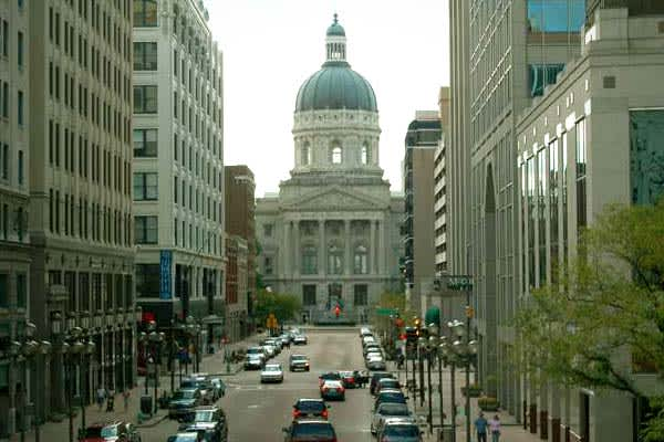 % of pop. on assistance: 1.83%2007 spending: $102.27 millionTotal recipients (July 2008): 116,430% Change in past 12 months: -5.3%Unemployment (May 2009): 10.6%Pictured: Indiana State House