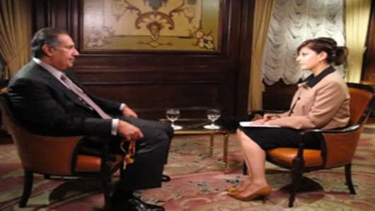 Maria Bartiromo with Qatar's Prime Minister Sheikh Hamad Bin Jassim Bin Jabr Al-Thania