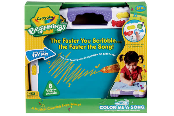 Company: Crayola BeginningsRetail Price: $25The perfect toy often depends on the child's age. This one helps toddlers learn to draw. Music plays to the speed of the child's scribbles.  Built-in storage makes the toy portable. (Ages 24 months and up)