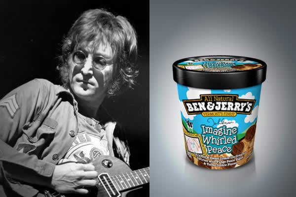 Ingredients:    Caramel & Sweet Cream Ice Creams Swirled with Fudge Peace Signs & Toffee Cookie Pieces Ben & Jerry's wanted to package a flavor that exemplified peace.  The best person to represent the flavor and peace was John Lennon – his art and lyrics 'Give Peace a Chance' was a pure demonstration of that.  The company partnered with Yoko Ono and , a UK based non-profit foundation that lobbied for global cease fire and peace on September 21st.  Jeremy Gilley, filmmaker, founder and chairman