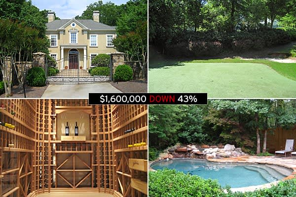 : $2.8 million (May 2009) : $1.6 million : -43 percent Owned by former Atlanta Braves pitcher Mike Hampton, the three-level home has a little bit of everything, including an exercise room, wine cellar and a putting green. »