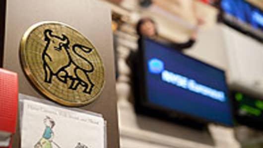 The Merrill Lynch bull logo inside the New York Stock Exchange.