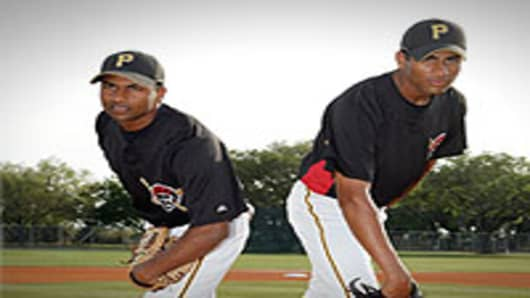 Dinesh Patel (L) and Rinku Singh of the Pittsburgh Pirates.