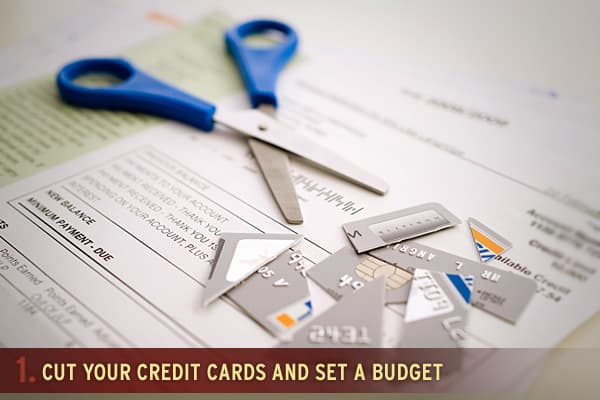 "Every family that finds themselves in debt should cut up all their credit cards and live on a cash budget, keeping a log of each and every expenditure made. Use the following formula to set a budget. Keep in mind that the ""life"" category includes is everything from groceries, to gadgets to entertainment. Housing: 35%, Debt: 15%, Life: 25%, Transportation, 15%, Savings 10%."