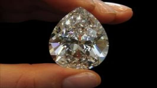 Flawless pear-shaped 72.22-carat diamond