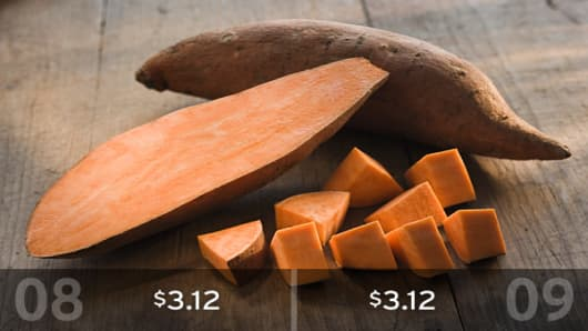 2009 Cost: $3.12There was no change in the average cost of sweet potatoes. If you buy three pounds, they should cost about $3.12.