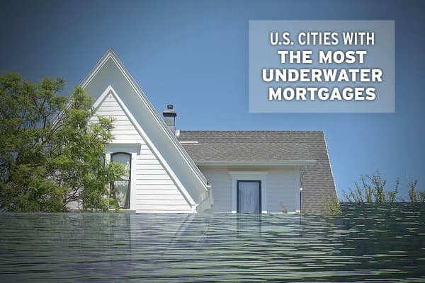 "For individual homeowners, being ""underwater"" on a mortgage – when a home is worth less than outstanding debt, or has ""negative equity"" – is one of the worst positions to be in, short of foreclosure., a firm that compiles US real estate and mortgage information, has put together a list of the 156 largest metro areas that includes statistics on median home values, market changes and the proportion of homes with negative equity.Included in the data is the "","" which represents the median measure of"