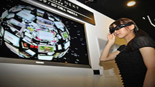 Japan's Toshiba unveils the prototype model of a 3D television set 'Cell Regza'.