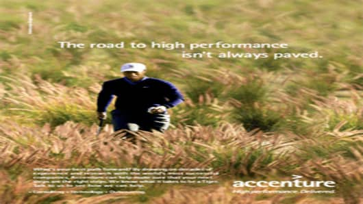 "Tiger Woods Accenture Ad with the headline ""The Road to Performance Isn't Always Paved""."
