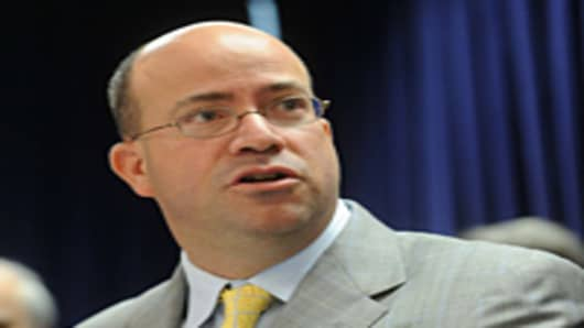 President and Chief Executive Officer of NBC Universal Jeff Zucker speaks at a press conference.