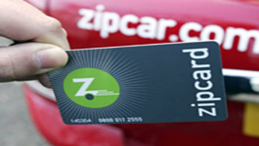 A Zipcard is used to gain entrance to a Zipcar.