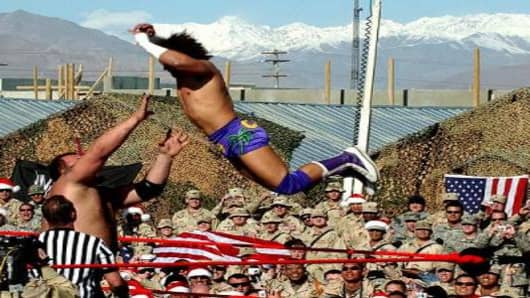 World Wrestling Entertainment match at the US airbase, Bagram, Afghanistan