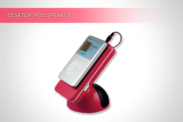 Available at The Container Store for $9.99Perfect for techies, the speaker grips flat surfaces and plugs into an iPod, iPod touch, iPhone or other MP3 player.