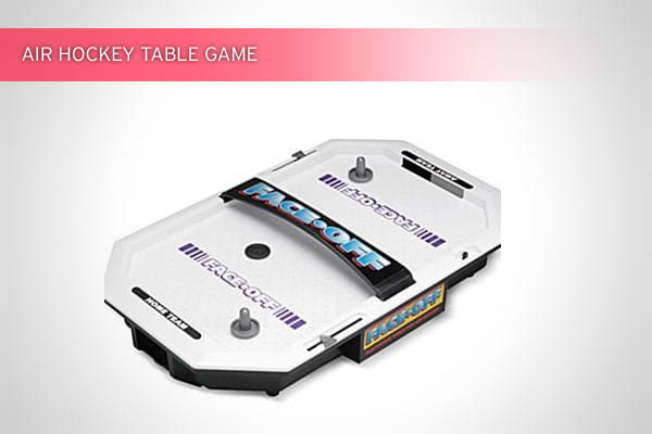 Available at JCPenney Outlet stores for $9.99The tabletop game originally sold for $30. It requires two D batteries to power puffs of air, and comes with a manual scorekeeper, three pucks and two paddles.