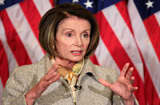 Speaker of the House Nancy Pelosi (D-CA) speaks during her weekly news conference at the US Capitol in Washington, DC.