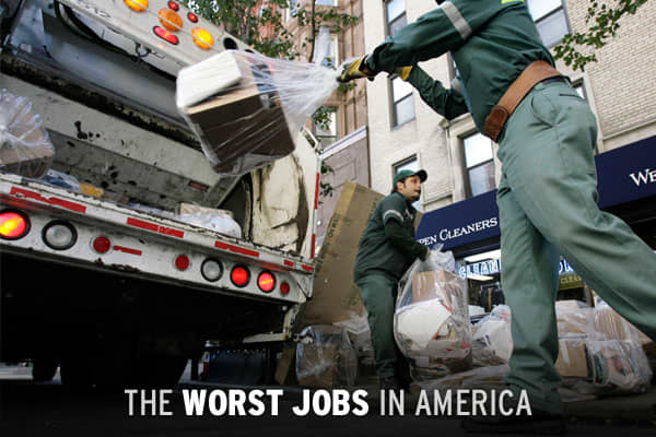 "If you think your job is bad, think twice... unless you've got one of the ""worst"" jobs in America today. It isn't much of a surprise that many of these low-rated jobs overlap with the most dangerous jobs. What's more, none have an annual salary above $40,000. has released a comprehensive ranking of the worst occupations, based upon several key criteria, including salary, stress and physical demand. What are the ten worst jobs in the country? Click ahead to find out."