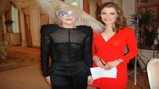 Julia Boorstin with Lady Gaga