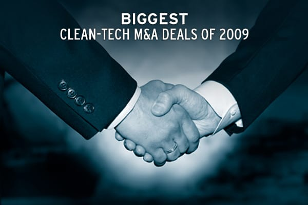 In 2009, there were an estimated 505 clean-technology M&A transactions globally, totaling $31.8 billion, according to the Cleantech Group, a research firm based in San Francsico. In North America, Europe and Israel, the number of clean technology M&A deals was up from 2008, but the total value of those transactions was down. In China, however, M&A activity in the sector was red hot. The country reached a historic high with 29 transactions totaling $5.5 billion. Click ahead to see the biggest cle
