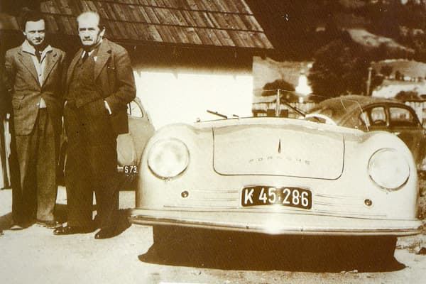 """Estimated Value: Priceless Units Built: 1 (hand built) Speed: Nearly 90 mph This is the first car (seen with Dr. Ferry Porsche, and his father, Professor Ferdinand Porsche) to bear the Porsche family name. """"The Porsche No. 1 was an aluminum-bodied, two-passenger roadster powered by a modified Volkswagen 1.1 liter engine,"""" Raskin said."""