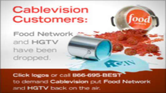 An example of a web advertisement for Food Network and HGTV.