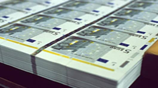 Stacks of 5-Euro bills
