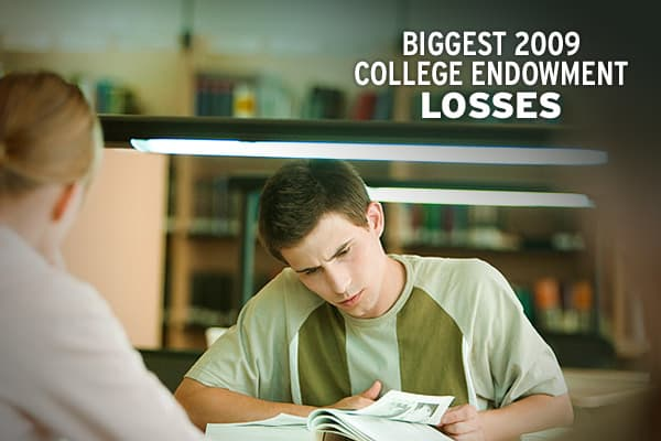 College endowments took a big hit in their last fiscal year, suffering their worst annual returns since the Great Depression. According to a new study by the  (NACUBO) and the , endowments and affiliated foundations had an average investment loss of 19 percent between July 1, 2008 - June 30, 2009.CNBC.com looked at the 250 largest endowments in the U.S. and highlighted the 15 that suffered the most dramatic losses in market value. They are ranked according to the percentage change in market valu