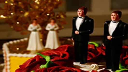 Same-sex wedding cake topper figurines