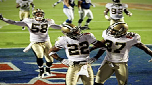 New Orleans Saints  after returning a interception for touchdown against of the Indianapolis Colts during Super Bowl XLIV at Sun Life Stadium in Miami Gardens, Florida.