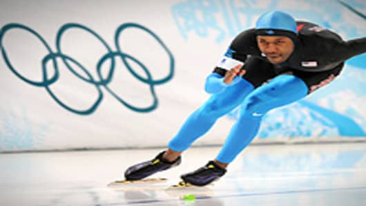 US speed skater Shani Davis performs during a training session at Richmond Olympic Oval in Vancouver, ahead of the Vancouver 2010 Olympics.