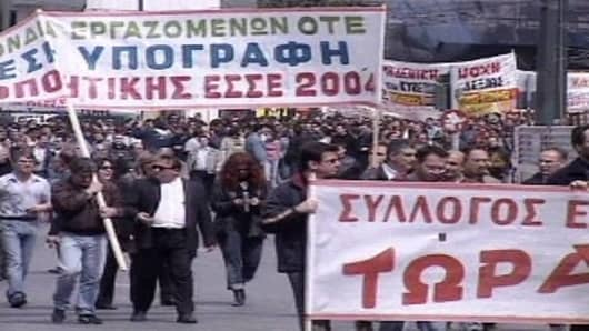 Greek Labor Unions Str