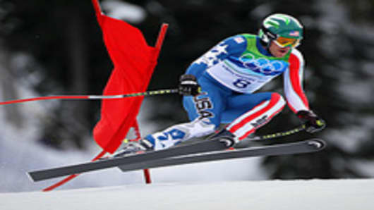 Bode Miller of the United States competes in the Alpine skiing Men's Downhill.