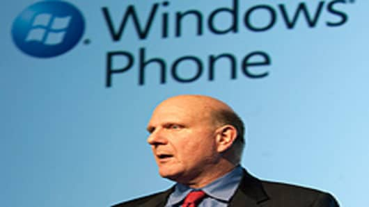 Microsoft CEO Steve Ballmer speaks during the 'Windows Phone 7' presentation at the Mobile World Congress in Barcelona.