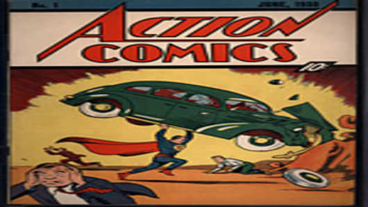 "Cover of June 1938 issue of ""Action Comics"" that first featured Superman"