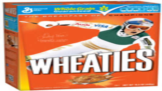 Lindsey Vonn featured on a box of Wheaties