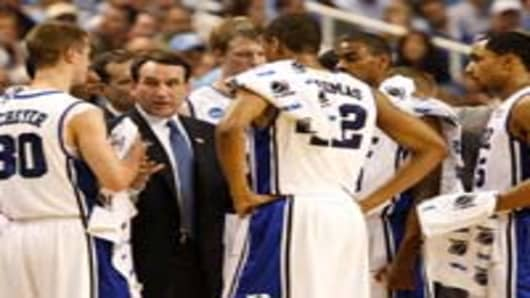 Duke Head coach Mike Krzyzewski directs his team during last year's NCAA Men's Basketball Tournament.
