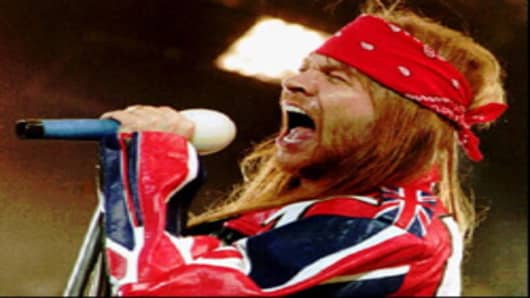 Axl Rose performing as lead singer of Guns N' Roses at London's Wembley Stadium in 1992