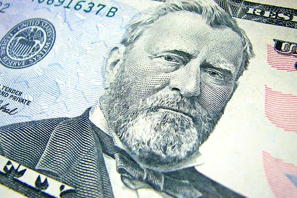 The portrait on a genuine US note appears lifelike and stands out distinctly from the background. The counterfeit portrait is usually lifeless and flat, and details merge into the background, which is often too dark or mottled.