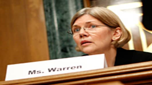 Panel Chair Elizabeth Warren listens during a hearing before the Congressional Oversight Panel that was created to oversee the expenditure of the Troubled Asset Relief Program (TARP).