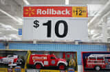 A sign advertising $10 dollar toys is seen in the toy department of a Walmart store.