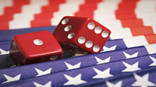 Dice on American flag fan