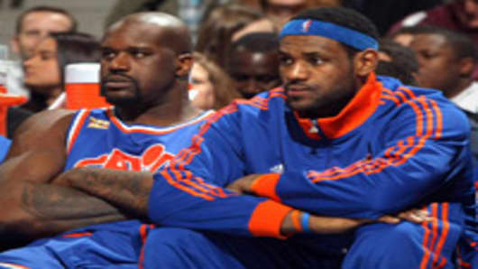 Shaquille O'Neal and LeBron James of the Cleveland Cavaliers