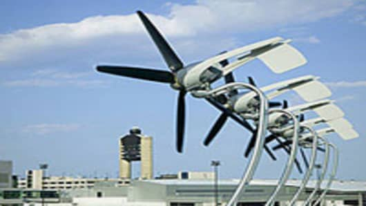 An AeroVironment rooftop turbine installation at Boston's Logan Airport.
