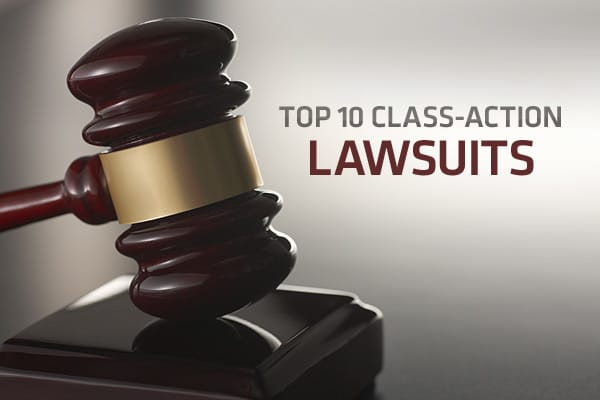 There have been numerous high profile class action lawsuits over the years, many involving securities fraud. But other famous class action lawsuits relate to pharmaceutical drugs, credit card abuses, and dangerous or unhealthy products. Here, we present the top 10 class action lawsuits either won, settled, pending, or in terms of damages sought as compiled by LawInfo.com. (Note: although corporations may be found legally and financially responsible for damages in these types of cases, they are
