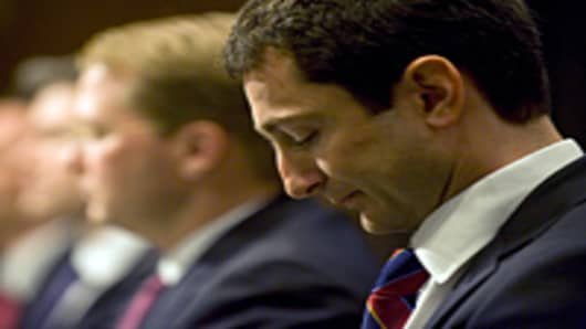 Fabrice Tourre, who is accused of fraud in a Securities and Exchange Commission lawsuit over a mortgage-linked investment, prepares to testify before the Senate Homeland Security and Governmental Affairs Investigations Subcommittee on Capitol Hill on April 27, 2010.