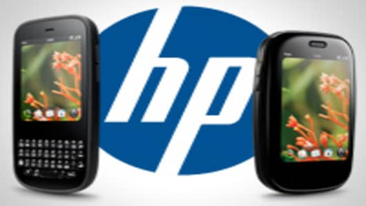 HP logo with Palm Pixi and Palm Pre