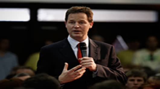 Liberal Democrat Leader Nick Clegg takes part in a question and answer session with community groups at the Frontline Church in Liverpool, England.